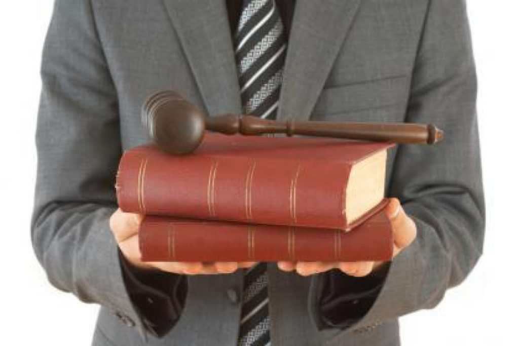 lawyer with books and gavel